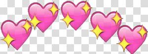 ilustrasi hati dan berlian merah muda dan kuning, Emoji Menggambar Jantung, Emoji png