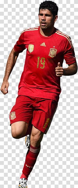 pria yang mengenakan kaos sepak bola merah adidas, tim sepak bola nasional Diego Costa Spanyol Chelsea F.C.Pemain sepak bola, Diego Costa png