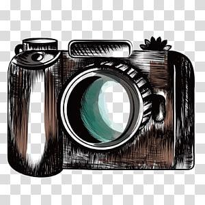 ilustrasi kamera hitam dan coklat, Canon grapher Drawing Canon EOS Camera, kamera SLR png