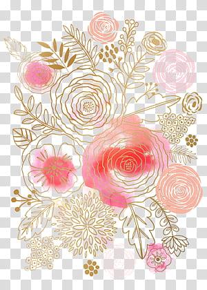 Lukisan Cat Air Bunga Desain bunga Merah Muda, Bunga Cat Air, ilustrasi bunga aneka warna PNG clipart