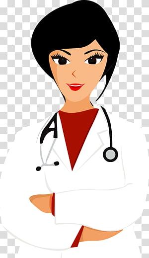 dokter wanita mengenakan jas lab dan stetoskop melilit lehernya, Ilustrasi Kedokteran, Dokter dan perawat png