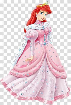Ariel Belle Putri Duyung Kecil Putri Disney, Ariel, Putri Disney Ariel mengenakan ilustrasi gaun merah muda png