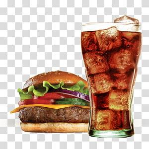 Burger keju dan segelas soda, Coca-Cola Hamburger Diet Coke Kentang goreng, Burger Coke PNG clipart