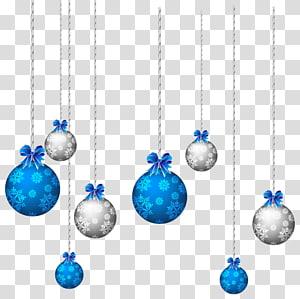 Christmas, Blue and White Hanging Christmas Balls, kepingan salju biru dan abu-abu mencetak ilustrasi pernak-pernik png