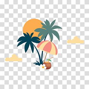 ilustrasi pohon kelapa dan beige dan pink, Poster Party Bar Tech house, Pantai Yuan Shu PNG clipart