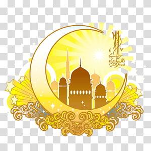 Idul Fitri Idul Fitri Mubarak Ramadhan kartu Ucapan Muslim, Bulan kuning berbentuk desain agama Islam, ilustrasi bulan sabit kuning PNG clipart