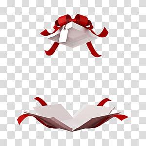 kotak hadiah dibuka putih-dan-merah, Perjamuan Pesta Menu Hari Kasih Sayang Katalog, kotak hadiah busur indah png