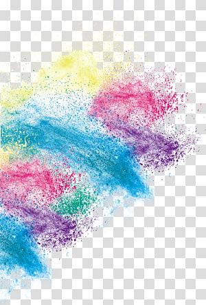 Pencetakan inkjet, efek debu seni warna kreatif, lukisan abstrak biru, merah, dan kuning PNG clipart