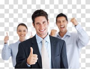 dua pria dan satu wanita menunjukkan acungan jempol, rencana bisnis peluang bisnis, bisnis gratis png