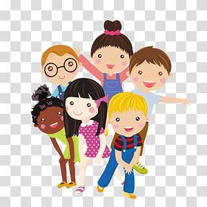 ilustrasi enam anak, Ilustrasi Kartun Anak, Kelompok anak-anak PNG clipart