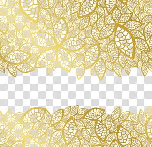Bingkai daun logam, bunga renda kuning png