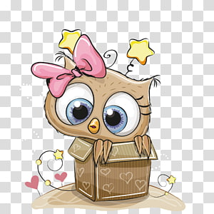 brown bird di dalam kotak ilustrasi, Owl Menggambar Buku Mewarnai Anak, kotak hadiah owl png