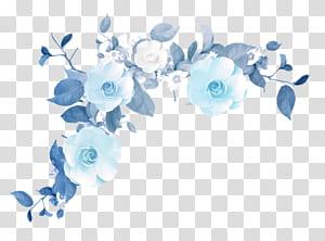Bunga 1080p, Tekstur tepi bunga biru, ilustrasi mawar biru dan putih png