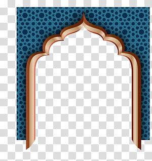 Idul Fitri Idul Fitri Mubarak Ramadan Idul Adha, pintu dinding biru retro, lengkungan biru dan coklat PNG clipart