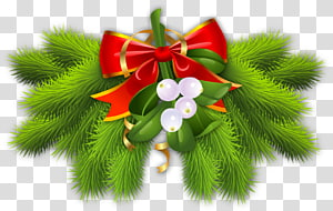 ilustrasi dekorasi hijau dan putih dengan busur merah, dekorasi Natal pohon Natal, Cabang Pinus dengan Red Bow Dekorasi Natal png