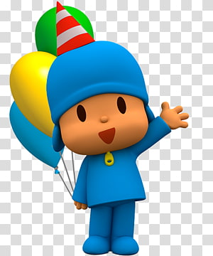 Pesta Ulang Tahun Kartun, pocoyo, bocah lelaki yang memegang balon PNG clipart