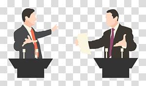 dua pria sedang mengobrol di samping ilustrasi meja, Pidato Debat, Politik PNG clipart