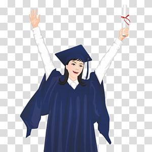 wanita dengan pakaian akademik meletakkan tangannya di ilustrasi udara, file Wisuda Pelajar File komputer, Lulusan png