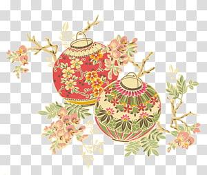 dua ilustrasi lentera bunga merah dan hijau, Lentera Festival Cina Lentera kertas, lentera Cina png