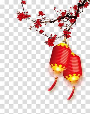 Tahun Baru Imlek Tahun Baru Natal, pola latar belakang Plum lentera merah, lentera Cina merah dan kuning png