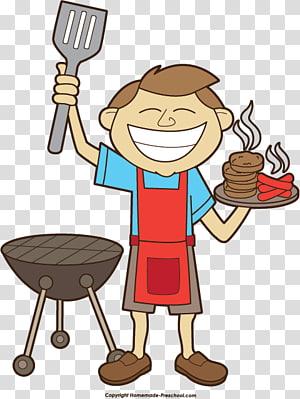 ilustrasi roti pria memanggang am sosis, Barbekyu Piknik konten gratis, Border BBQ s PNG clipart