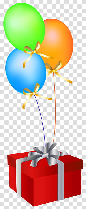 balon dan kotak hadiah, kartu Ucapan Ulang Tahun Balon Hadiah, Kotak Hadiah Merah dengan Balon png