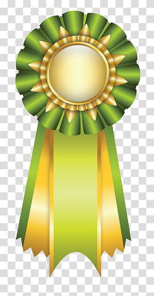 ilustrasi pita hijau dan kuning, Rosette Ribbon, Green Rosette Ribbon png