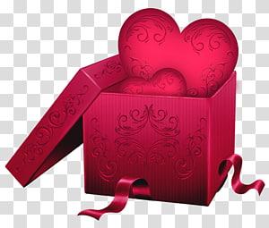 ilustrasi hati merah dalam kotak, Love Romance, Gift Box with Heart png