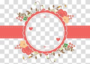 Ilustrasi Hari Ibu Euclidean, desain undangan Pernikahan, ilustrasi bingkai bunga merah muda dan krem png