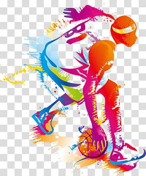 ilustrasi pemain basket warna-warni, olahraga Tim Basket, Pemain Basket Kreatif PNG clipart