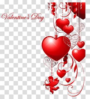 Hati Hari Valentine, Dekorasi Hari Kasih Sayang dengan Hati dan Cupid, ilustrasi Hari Valentine merah png