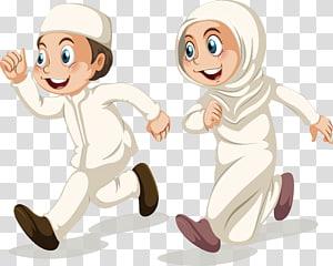 anak perempuan dan laki-laki yang mengenakan pakaian ilustrasi, Ilustrasi Kartun Islam Muslim, Perlombaan berjalan lelaki kecil PNG clipart