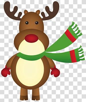 ilustrasi rusa, Rudolph Santa Claus rusa Natal, Rudolph Natal dengan Syal png