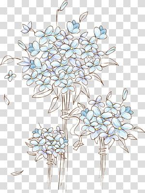 File komputer, Tangan dicat dekorasi pintu bunga pernikahan, ilustrasi bunga biru png