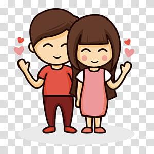 Menggambar pasangan Kartun Cinta, Pasangan kartun, ilustrasi pria dan wanita png