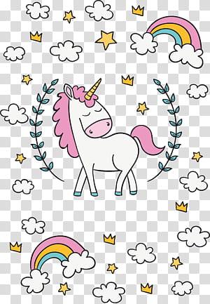 Unicorn, unicorn di bawah pelangi, dekorasi unicorn png