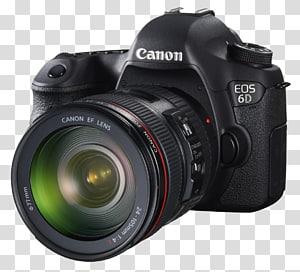 hitam Canon EOS 6D dengan ilustrasi lensa zoom, Kamera Canon EOS 6D Mark II, Kamera Hd png