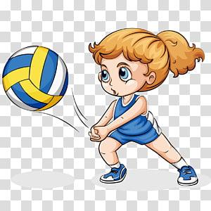 gadis bermain ilustrasi bola voli, Gadis Bermain Voli, bola voli PNG clipart