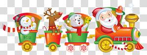 Santa Claus, beruang, rusa kutub dan ilustrasi kereta salju, Kereta Santa Claus Rail transportasi Natal, Natal Santa Train png