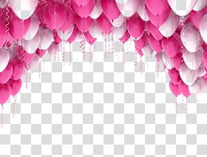 Hari Tahun Baru Berharap Natal, balon merah muda manis, balon merah muda dan putih PNG clipart