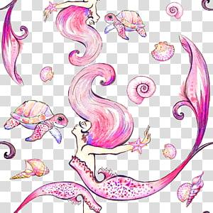 ilustrasi kura-kura dan putri duyung merah muda, Menggambar Ilustrasi seni Visual, Mermaid ilustrasi cat air yang indah png