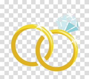 Cincin kawin, Cincin kawin bahan kartun, cincin berwarna emas dengan ilustrasi berlian png
