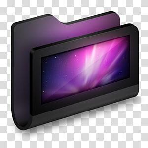 bingkai elektronik hitam dan abu-abu, multimedia tampilan perangkat ungu, Desktop Black Folder png