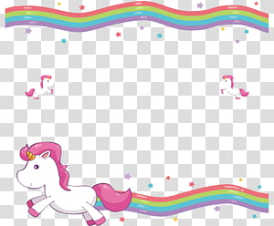 Selimut Undangan Pernikahan Unicorn Kelucuan, Perbatasan Dekoratif Pelangi Lucu, Unicorn png