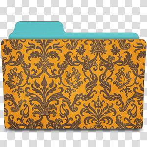 ilustrasi folder bunga coklat dan hitam, pola seni visual kuning persegi panjang oranye, Folder damask tangerine png