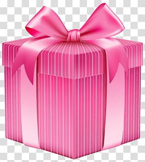 kotak hadiah merah muda dan putih dengan pita, Kotak hadiah Natal, Kotak Hadiah Merah Muda Bergaris png