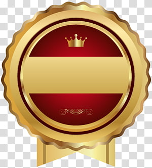 emas bergigi tepi dan merah dengan pita mahkota, templat Web, Lencana Segel Merah Emas PNG clipart