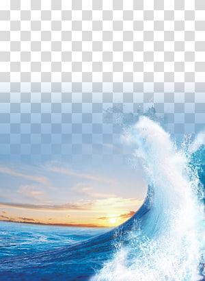 Light Sea Sunset Gelombang angin, Laut biru, gelombang laut png