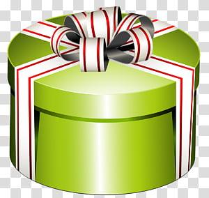 kotak hadiah hijau dan putih, Kotak Hadiah, Kotak Bulat Hijau Hadir dengan Busur png