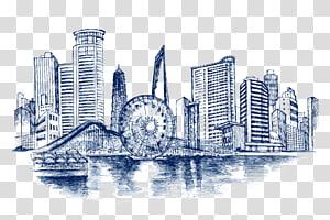kincir ria dekat jembatan dan lukisan bangunan kota, sketsa arsitektur gambar bangunan, bangunan kota PNG clipart